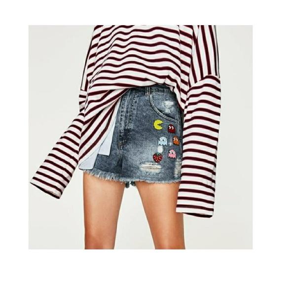 Zara Pants - zara • pac-man high waist shorts